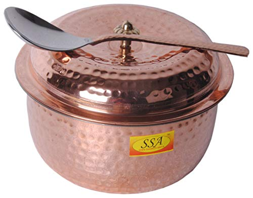 SHIV SHAKTI ARTS Handmade Pure Copper Handi Casserole Hammered desgined with lid and Copper Serving Spoon Homeware Hotelware Dinnerware Kitchenware Home décor Purpose Volume-1000 ml ()