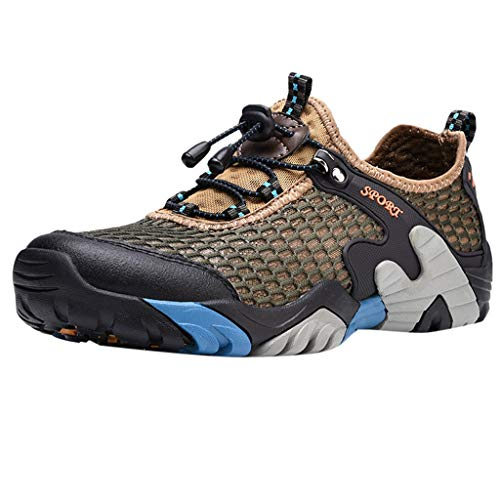 (Men's Hiking Shoes Non-Slip Lightweight Sneakers Breathable Camping Trail Running Shoes Outdoor Walking Shoes by Lowprofile Brown)
