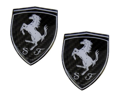 2 X Ferrari Real Carbon Fiber Rare Car Logo Badge Emblems (Pair/Set) for 512 308 458 599 328 GTS GTO GTB M Dino 612 F430 360 550 355 F1 Spyder - Carbon F430