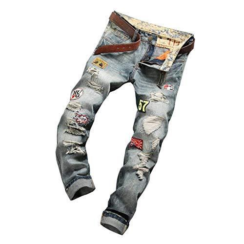 Pantaloni Denim Stile Strappati Jeans Biker Semplice Slim Vintage Blau Distrutti Uomo Fit Stretch Casual 6q1w8fa