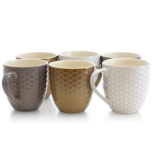 Set Mug Assorted - Elama EL-HONEYCOMB2 Honeycomb 6-Piece 15 oz. Mug Set, Assorted Colors, 15 Ounce, Multicolor