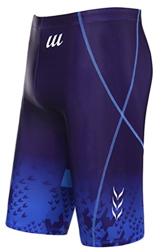 WUAMBO Swimwear Men's Swim Jammer Shorts Blue US Large Waist - Spandex Mens Swimwear
