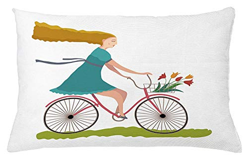 Ustcyla Bicycle Throw Pillow Cushion Cover, Young Woman on Bike with Basket of Tulip Flowers Riding in The Spring Countryside, Decorative Square Accent Pillow Case, 18 X 18 Inches, Multicolor