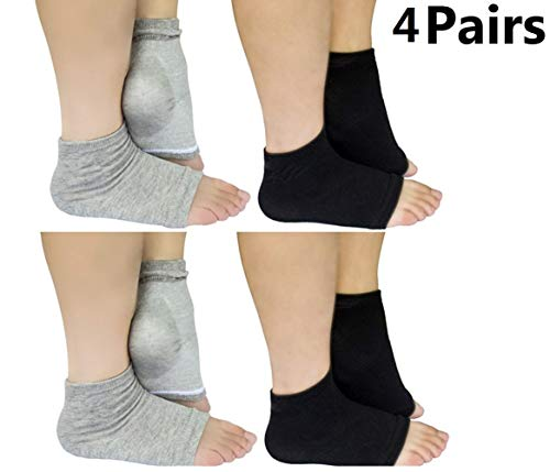 - Moisturizing Heel Socks Open Toe Socks for Dry Hard Cracked Skin Moisturizing Day Night Care Skin, Spa Gel Socks Humectant Moisturizer Heel Balm Foot Treatment Care,4 Pairs