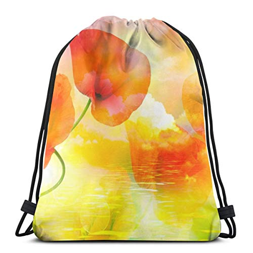 OWZI Close Up Of Beautiful Red Poppy Wildflower Classic Portable Drawstring Backpack,14.2