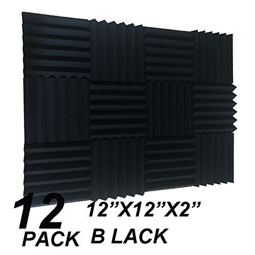 12 Pack Acoustic Wedge Studio Foam Sound Absorption Wall Panels 2'' x 12'' x 12'' by XIN&LG