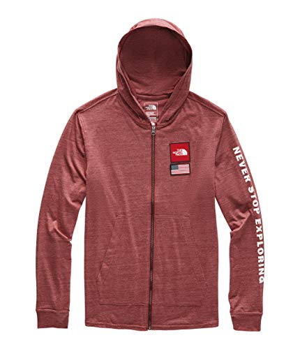 The North Face Men's Americana Tri-Blend Full Zip Hoodie Cardinal Red Heather Large ()