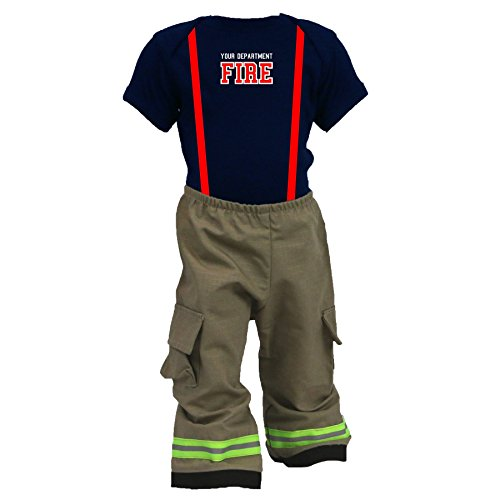 Firefighter Baby Outfit Pant and Shirt Tan with Yellow Reflective 18 (Das Bunker Halloween)