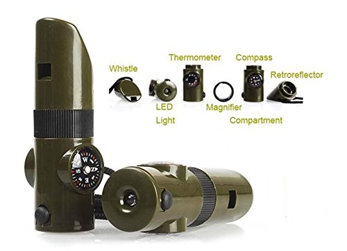 7 In 1 Survival Whistle With Led Light in US - 7
