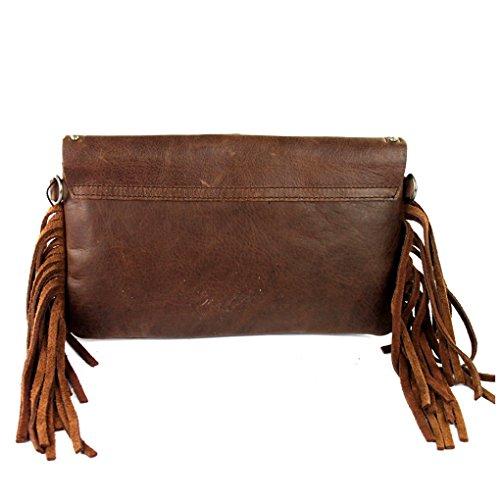 Light Leather Bundle Purse Fob of Handbag Concho Key w Fringe Flash Coffee Studded Clutch W 4qw0qSx5