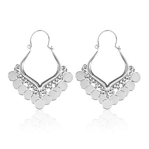 RIAH FASHION Bohemian Coin Dangle Chandelier Earrings - Lightweight Gypsy Filigree Hoops with Disc Charms (Gypsy Dangle 5 - ()