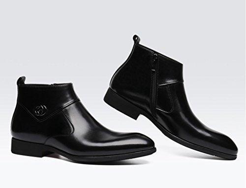 Herren Lederschuhe Herren Lederschuhe Kurz Martin Stiefel Business High-Top-Schuhe wies britischen Stil Herrenschuhe ( Farbe : Yellow-brown , größe : EU 41/UK7 ) Schwarz