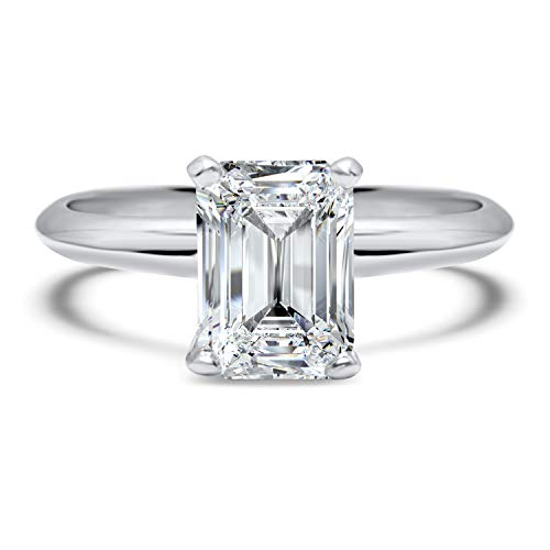 (1 carat Forever ONE Near colorless emerald cut solitaire moissanite engagement ring 14k White Gold)