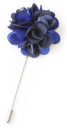 (Flairs New York Gentleman's Essentials Premium Handmade Flower Lapel Pin Boutonniere (Pack of 1 Pin, Sapphire Blue/Blue [2 Tones Daisy]))