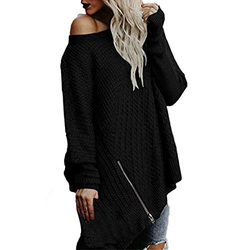 Vrac Longues Noir tricot Chemise Pullover Chandail Femmes Longues Chandail Longues Manches Tricot Manches Dames Tops Pull en en Manches Vrac Solide Bellelove 7B1q0vn1