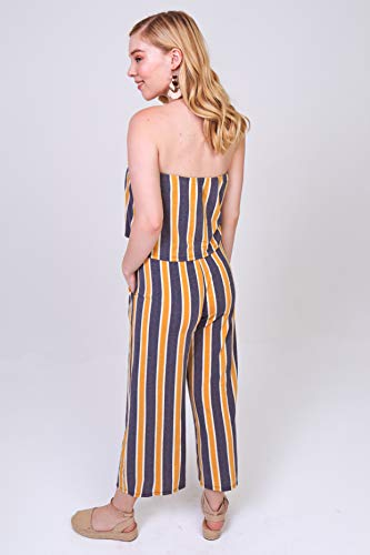 7b28dc710d2 Bebop Women s Strapless Popover French Terry Wide Leg Cropped Jumpsuit
