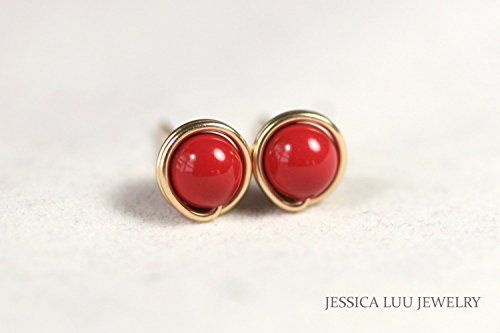 Gold Red Coral Stud Earrings Swarovski Pearl Wire Wrapped Rose or Yellow Gold Filled Studs for - Gold Ring Coral 14k