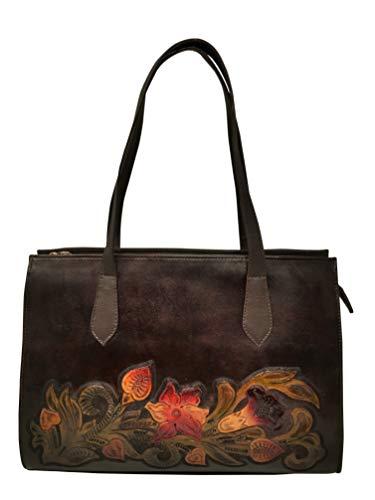 (Savannah Vintage Floral Artisan Leather Handmade Shoulder Handbag Designer Gift for Women)