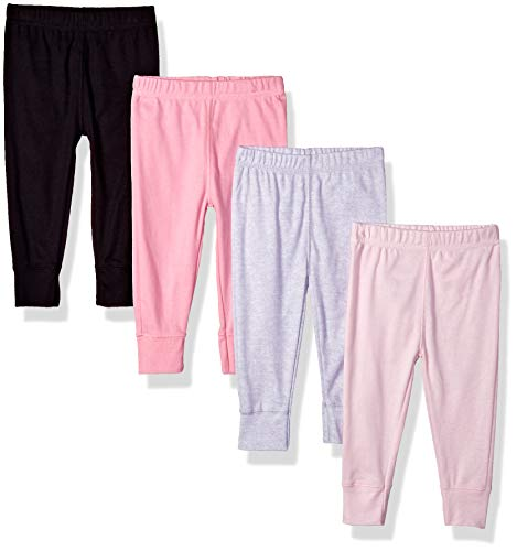 Gerber Baby Girls' 4-Pack Pants, Pink/Black/Gray, 0-3 Months
