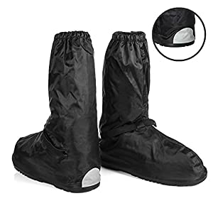 Waterproof Motorcycle Boot Shoe Covers size Men 10-11 with Reflective Heels and Sturdy Zipper Elastic Bands for Outdoor Hiking Camping Fishing - Black