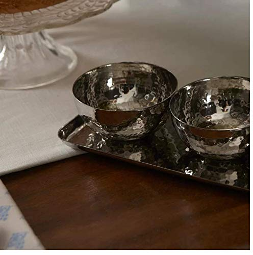 Nuts and Dips Hammered Condiment Server for Appetizers Candy Relish Tray with Serving Bowls 4-piece Set Elegant Stainless Steel Serveware Set Le/'raze