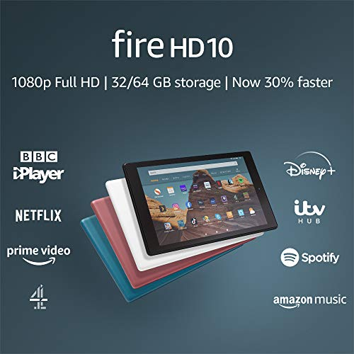 Fire HD 10 Tablet | 10.1″ 1080p Full HD display, 64 GB, Plum – with Ads (Previous Generation – 9th)