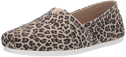 Skechers BOBS Women's Bobs Plush-Hot Spotted. Leopard Print Slip on Ballet Flat, 7.5 M US (Ballet Tennis Shoes)