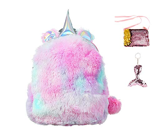 - Starte 3Pcs Cute Plush Todder Backpack for Girls Kids School Bag,Sequins Mermaid Tails Keychains,Sequins Coin Purse,Sweet Girls Daughter Gifts(Pink)
