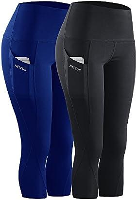 Neleus 2 Pack Tummy Control High Waist Workout Yoga Capri Leggings,9027,Black,Blue,M,EU L