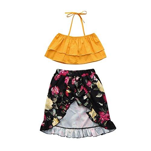 Winsummer Infant Baby Girl Off Shoulder Strappy Top+Floral Bloomer Shorts/Dress Sunsuit Sister Clothes Set (Big Sister, 5T) (Dress Shoulder Strappy)