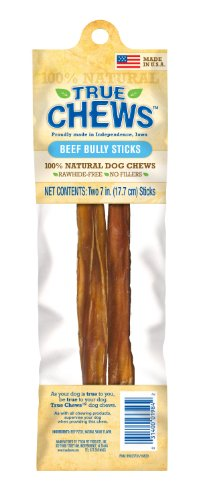 True Chews Dog Treats, Beef Bully 7-Inch Sticks, 2-Count Package (Pack of 5), My Pet Supplies