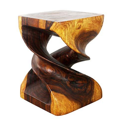 Haussmann Double Twist End Table 15 x 15 x 20 in H Acacia Wood Walnut Oil Finish