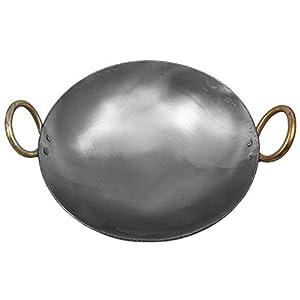 KITCHEN SHOPEE Traditional Iron deep Kadai/Frying Pan for Cooking, Iron Fry Kadhai/Pan Heavy Base Iron Kadhai, Handmade…