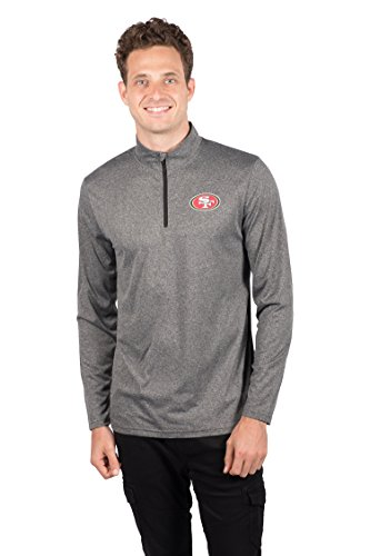 Fan Francisco Nfl San 49ers (Icer Brands NFL San Francisco 49ers Men's Quarter Zip Pullover Shirt Athletic Quick Dry Tee, Medium, Gray)