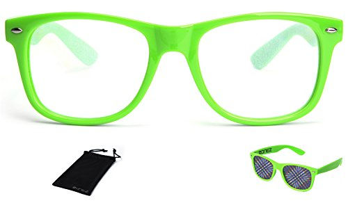 Zonez Green Diffraction Glasses Clear Lens with Glowing Holographic Rainbow Prism Effects - Rave Accessories, Party Favors, Fireworks, Light Shows