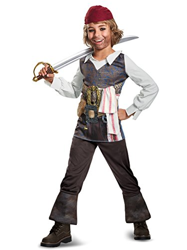 Disguise POTC5 Captain Jack Sparrow Classic Costume,  Multicolor,  Large (10-12) (Best Captain Jack Sparrow Costume)