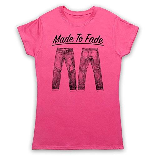 Made To Fade Denim Jeans Camiseta para Mujer Rosa