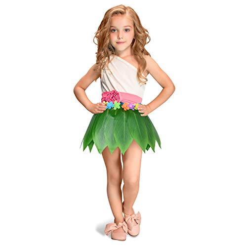 Ti Leaf Hula Skirt Hawaiian Leaf Skirt Green Grass Skirt with Artificial Hibiscus Flowers for Beach,Luau Party Supplies(22in waist15in -