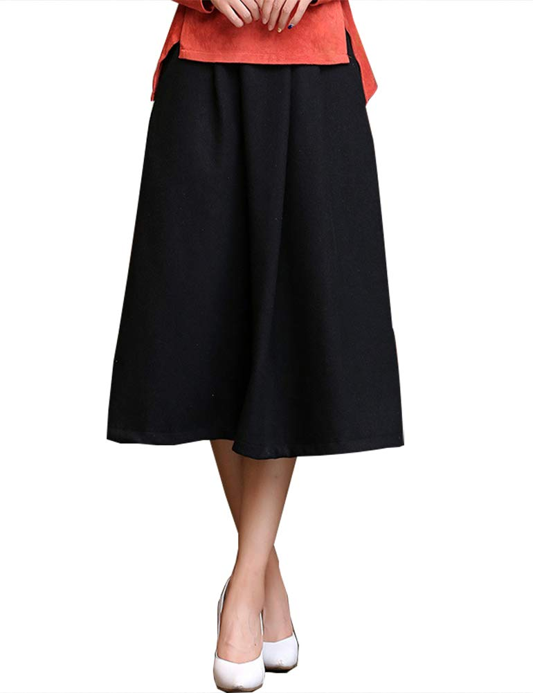 IDEALSANXUN Women's Spring/Summer Cotton Linen Midi A-line Skirt with Pocket (#3 Black, Medium)