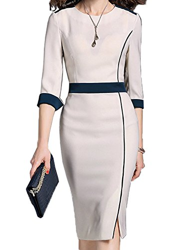 WOOSUNZE Women's Short Sleeve Colorblock Slim Bodycon Business Pencil Dress (XX-Large, Apricot #2) by WOOSUNZE