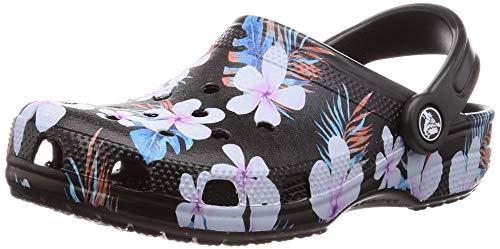 Crocs Unisex Classic Seasonal Graphic Slip On Clog Black/Floral-Black-M5-W6