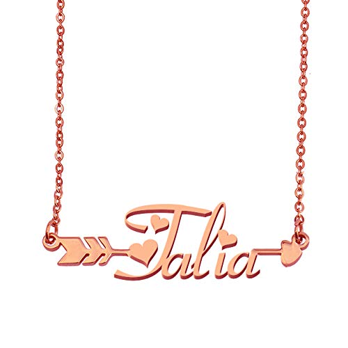 - Aoloshow Customized Custom Name Necklace Personalized - Custom Talia Initial Plated Handwriting Nameplate Necklace Gift for Womens Girls