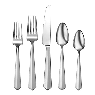 Oneida Vertica 65 Piece Fine Flatware Set, 18/10 Stainless, Service for 12 - Set Contains: (12) Salad Forks, (12) Dinner Forks, (12) Dinner Knives, (12) Dinner Spoons, (12) Dinner Teaspoons, (1) Serving Spoon, (1) Pierced Serving Spoon, (1) Sugar Spoon, (1) Butter Knife, (1) Serving Fork Modern, clean design for a luxury feel great for all occasions. Oneida's 18/10 fine flatware combines genius design along with durable materials that will last a lifetime. - kitchen-tabletop, kitchen-dining-room, flatware - 41vy 8QAgvL. SS400  -
