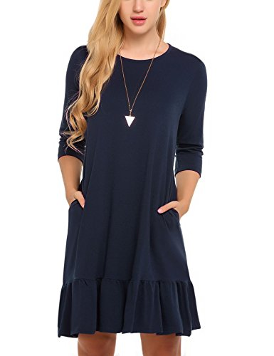 Hotouch Women 3/4 Sleeve Solid Ruffles Casual Loose Tunic Dr