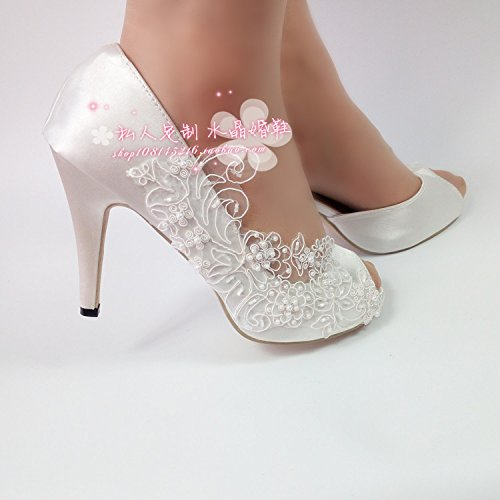Photo Toasting Woman Flowers Wedding Shallow Satin Wedding Pearl Prom Bridesmaids Bride Silk 7 Shoes Sandals Platform Heel White Waterproof VIVIOO qnvSZt