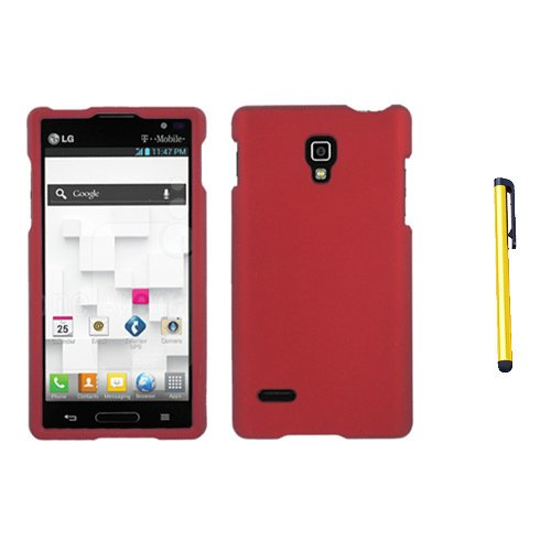 Hard Plastic Snap on Cover Fits LG P769 Optimus L9 Red Rubberized + A Gold Color Stylus/Pen