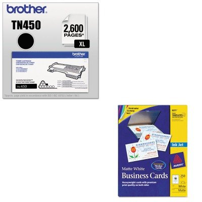 KITAVE8371BRTTN450 - Value Kit - Avery Two-Side Printable Business Cards (AVE8371) and Brother TN450 TN-450 High-Yield Toner (BRTTN450)