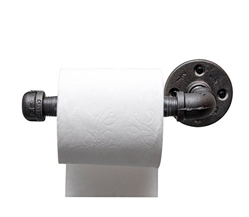 Industrial Pipe Toilet Paper Holder by DIY Cartel - Black Malleable Iron - Heavy Duty - Perfect For : Modern, Minimalist, Rustic, Steampunk, and Industrial (Natural Iron Finish Bath)