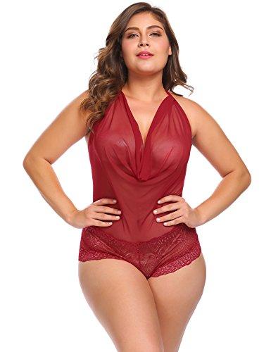 Vpicuo Plus Size Women Sexy Lingerie Teddy One Piece Lace Halter Babydoll Bodysuit Sleepwear,Wine Red,20W by Vpicuo