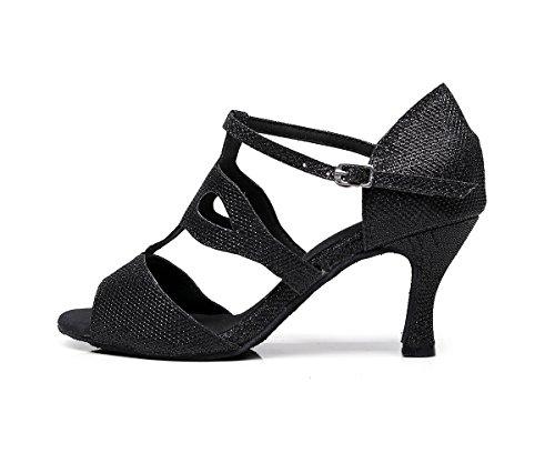 Minishion Heel zapatos Black mujer de 7 cómodos 5cm Para baile r7wdRqzxr